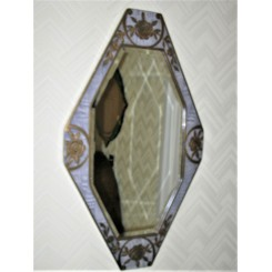 Fantastic English wood and glass diamond shaped mirror