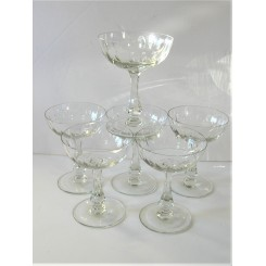 High quality Art Deco French set of 6 Champagne coupes