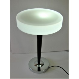Good Mid Century Modern chrome and wood table lamp with white glass disc shade
