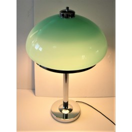 Large Mid Century Modern chrome and blue glass table lamp