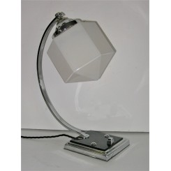 Outstanding chrome square based C shaped table lamp with hexagoonal white shade