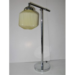 Mid Century Modern Table Lamp With Yellow Fluted Shade
