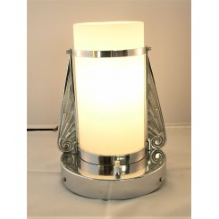 Unusual Chrome Table Lamp With Fins And Tubular Shade