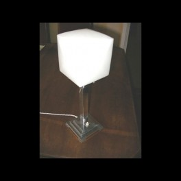 English stepped chrome square table lamp with white cube shade