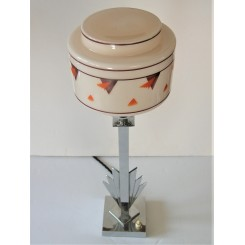 Outstanding Art Deco Chrome Lamp Base With Original Shade