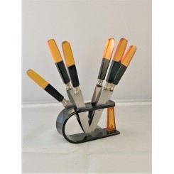 Art Deco Lucite Fruit Knives Set