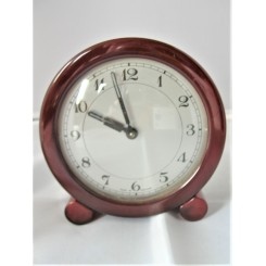 Excellent And Rare Red And Amber Bakelite Table Clock