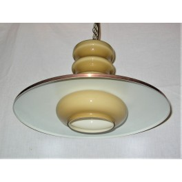 Mid Century Modern Copper And Glass Ceiling Light