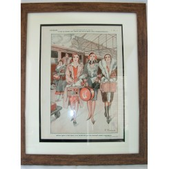 French Deco Original Print Pretty Girls At The Station By Fabiano