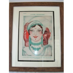 French Deco Original Print Fatima Of Tunisia By Zaliouk