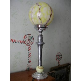 Outstanding American Table Lamp With Yellow Shade And Slag Glass