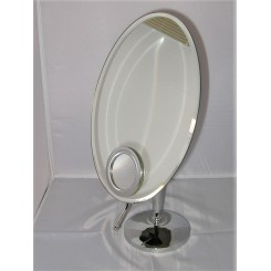 Oval Mid Century Chrome And Mirror Glass Adjustable Table Mirror