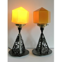 Excellent Pair Of French Wrought Iron Deco Table Lamps, With Hexagonal Amber Glass Shades
