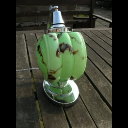 Excellent stepped oval base table lamp with green mottled glass shade