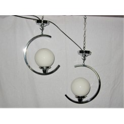 Pair of C shaped chrome ceiling fixtures