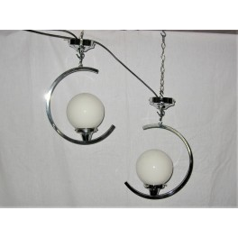 Pair of C shaped chrome ceiling fixtures (RESERVED)