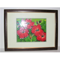 Tube Lined Ceramic Plaque Of Red Flowers