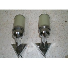 Pair of modernist triangular section wall lights ideal for a bathroom