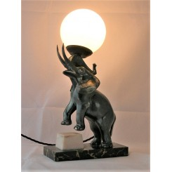 French Art Deco Elephant Lamp On Marble