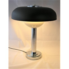 Brown Shade Mid Century Chrome Table Lamp