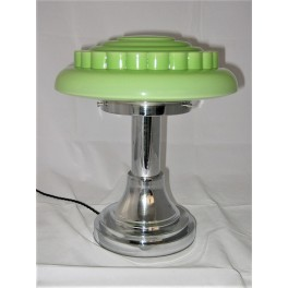Green Shade Machine Age Mid Century Chrome Table Lamp