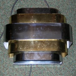 Wonderful set of 4 modernist american wall lights in chrome & brass