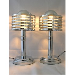 Pair Of Chrome Louvred Modernist Table Lamps