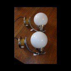 Excellent english catalin & chrome wall  lights with yellow shades