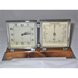 Art Deco table clock and barometer