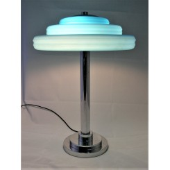 Very large blue stepped shade Mid Century Modern table lamp