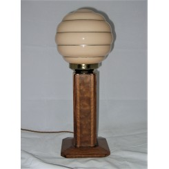 Art Deco walnut veneered square section table lamp