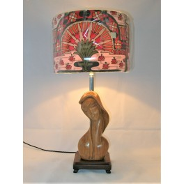 Mid Century Modern wooden lady table lamp with excellent