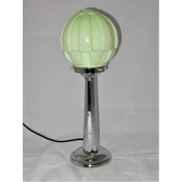 Art Deco chrome table lamp with green glass shade