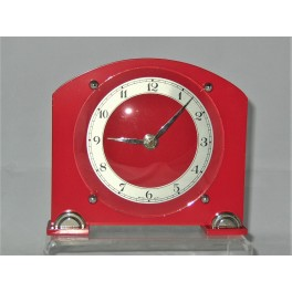 Red Bakelite Art Deco Ferranti clock quartz movement