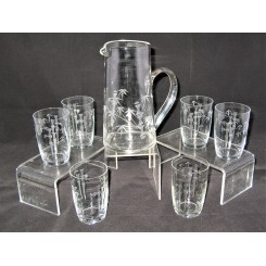 Excellent Noritaki glass water set in the Bamboo pattern