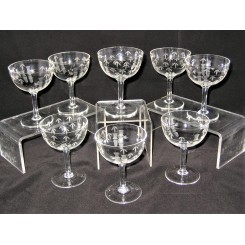 Set of 8 Noritaki Bamboo pattern Champagne Coupes