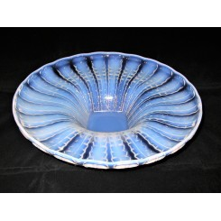Large Opalescent glass coupe ouvert bowl by Verlys