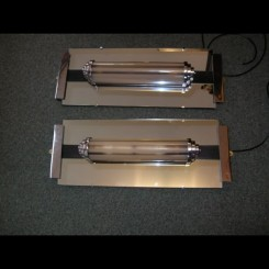Pair of modernist wall lights from the odeon cinema st. ives cambs