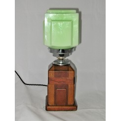 Art Deco Cubist wooden table lamp with green cube shade