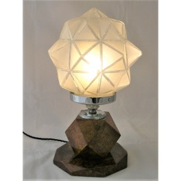 Burr walnut octagonal table lamp with large shade