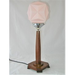 English Art Deco Wooden Lamp With Geometric Shade