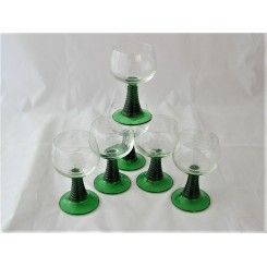 Set Of 6 Green And Clear Hock Glasses With Engraving