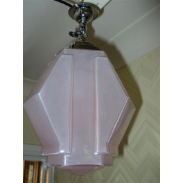 French rose coloured small glass geometric ceiling fixture