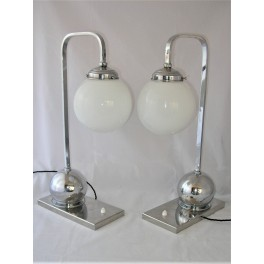 Pair of exceptional Modernist chrome ball table lamps