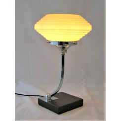 Square based Mid Century table lamp with yellow shade