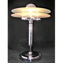Large chrome and double disc shade spaceship table lamp