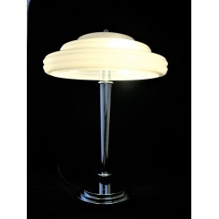 Large Art Deco stepped white shade and chrome table lamp