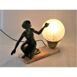Art Deco spelter lady lamp with Muller Frere glass globe shade