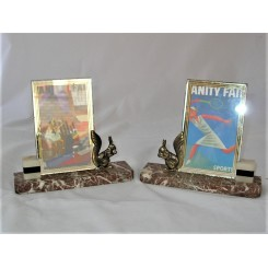 Pair Of Art Deco Marble And Metal Squirrel Photo Frames