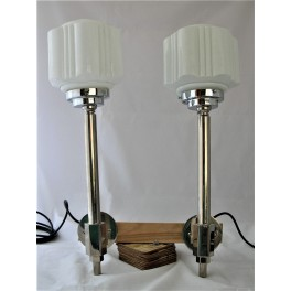 Pair of chrome Art Deco wall lights with white shades